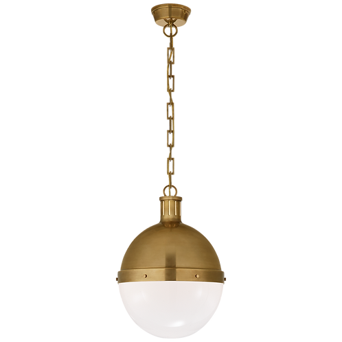 Hicks Large Pendant in Hand-Rubbed Antique Brass with White Glass