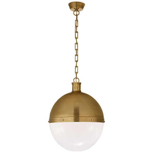 Hicks Extra Large Pendant in Hand-Rubbed Antique Brass with White Glass