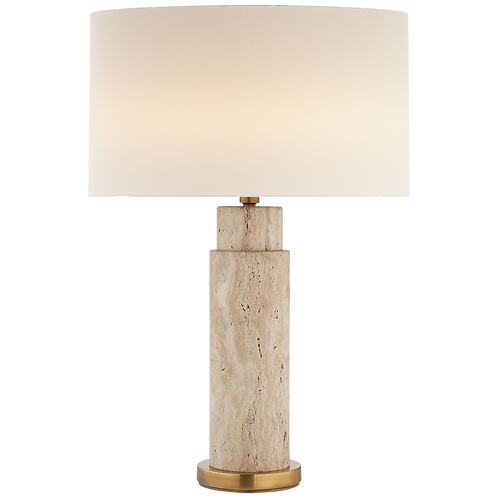 Yvette Table Lamp in Limestone with Linen Shade