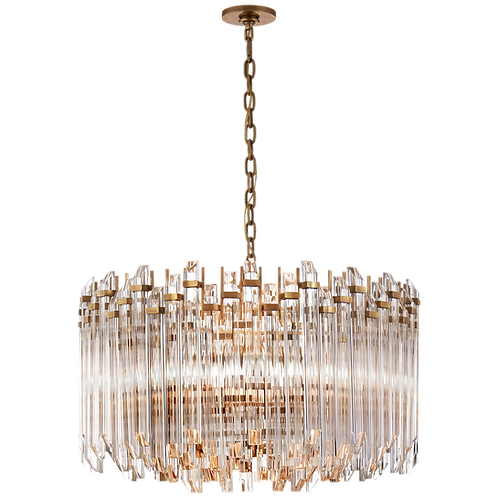 Adele Large Wide Drum Chandelier in Antique Brass with Clear Acrylic