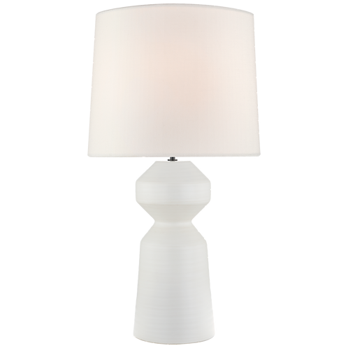 Nero Large Table Lamp in Matte White with Linen Shade