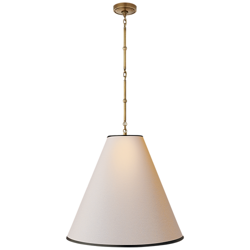 Goodman Large Hanging Lamp in Hand- Rubbed Antique Brass with Natural Paper