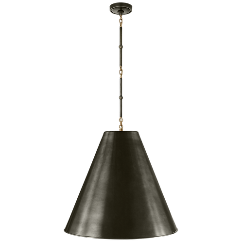 Goodman Large Hanging Lamp in Bronze and Hand-Rubbed Antique Brass with Bronze