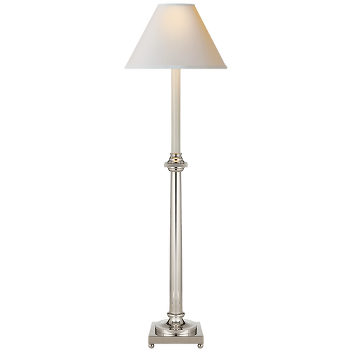 Swedish Column Buffet Lamp in Polished Nickel with Natural Paper Shade