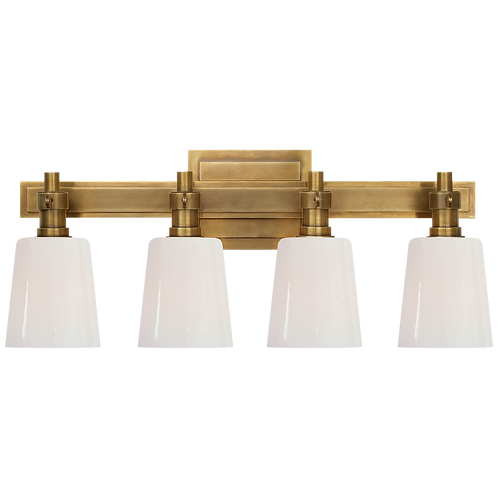 Bryant Four-Light Bath Sconce in Hand- Rubbed Antique Brass with White Glass