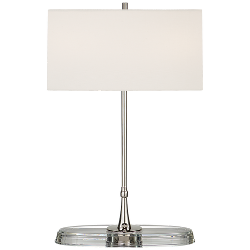 Casper Medium Table Lamp in Polished Nickel and Crystal with Linen Shade
