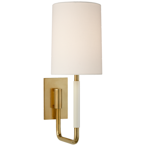 Clout Small Sconce in Soft Brass with Linen Shade