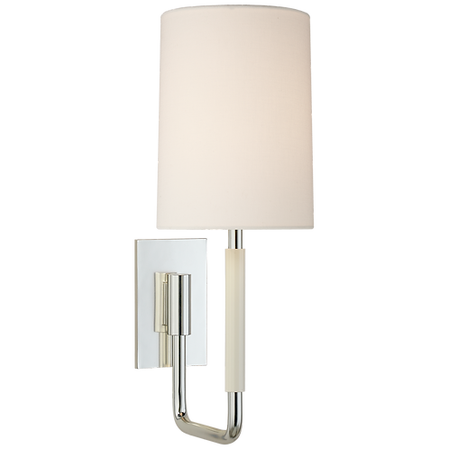 Clout Small Sconce in Soft Silver with Linen Shade
