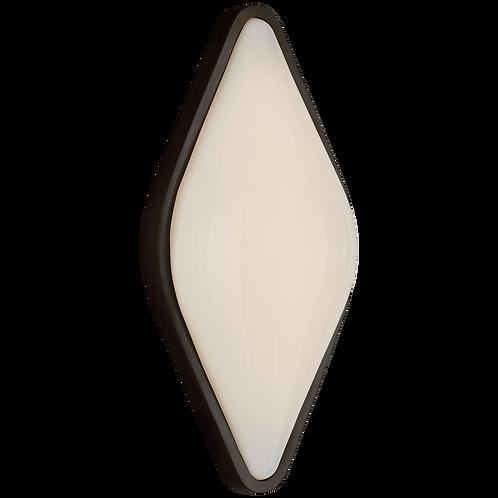 Ezra Medium Bath Sconce in Bronze with White Glass
