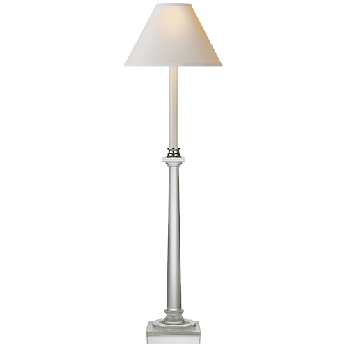 Swedish Column Buffet Lamp in Crystal with Natural Paper Shade