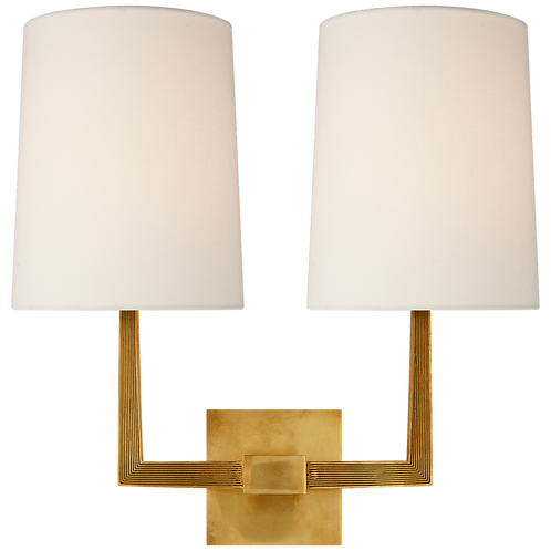 Ojai Large Double Sconce in Soft Brass with Linen Shade