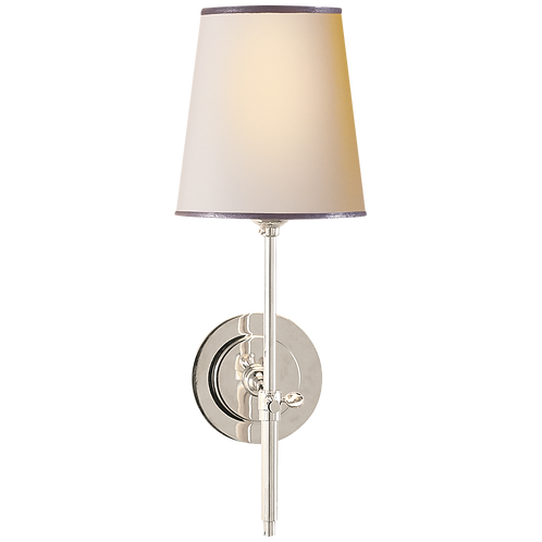 Bryant Sconce in Polished Nickel with Natural Paper Shade and Silver Tape