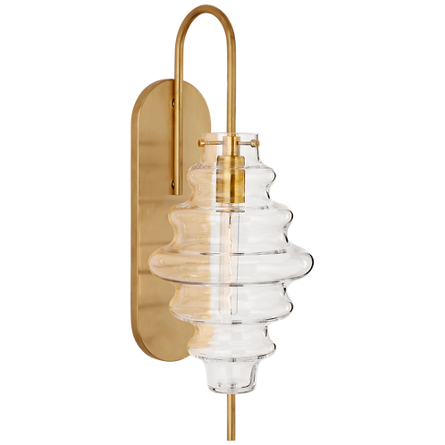 Tableau Large Sconce in Antique-Burnished Brass with Clear Glass