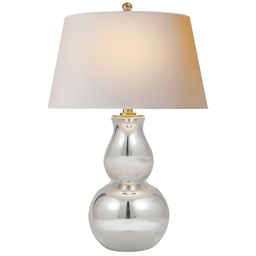 Open Bottom Gourd Table Lamp in Mercury Glass with Natural Paper Shade