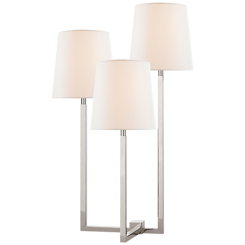Margot Medium Triple Arm Table Lamp in Polished Nickel with Linen Shades