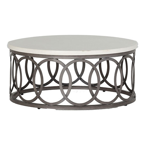 "Ella 36"" Coffee Table - Charcoal/Travertine"