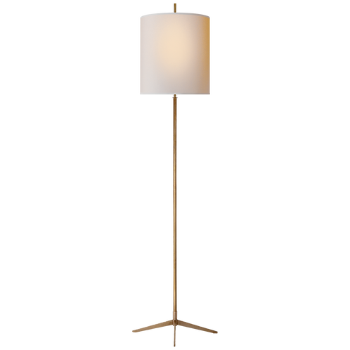 Caron Floor Lamp in Hand-Rubbed Antique Brass with Natural Paper Shade