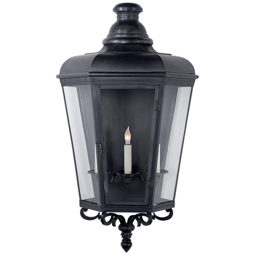 Menzel Large 3/4 Wall Lantern in Blackened Copper with Clear Glass