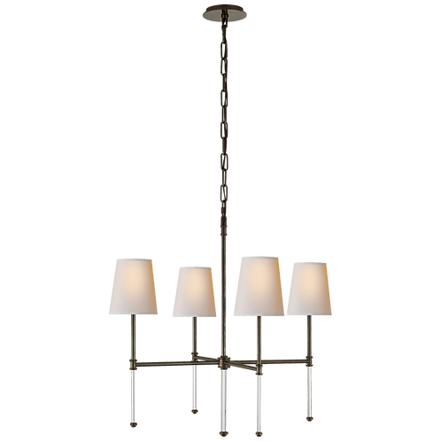 Camille Small Chandelier in Bronze with Natural Paper Shades