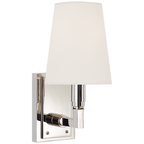 Watson Small Sconce in Polished Nickel with Linen Shade