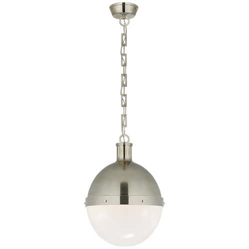 Hicks Large Pendant in Antique Nickel with White Glass