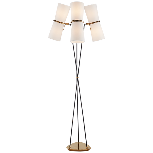 Clarkson Triple Floor Lamp in Hand-Rubbed Antique Brass and Black with Linen Sha