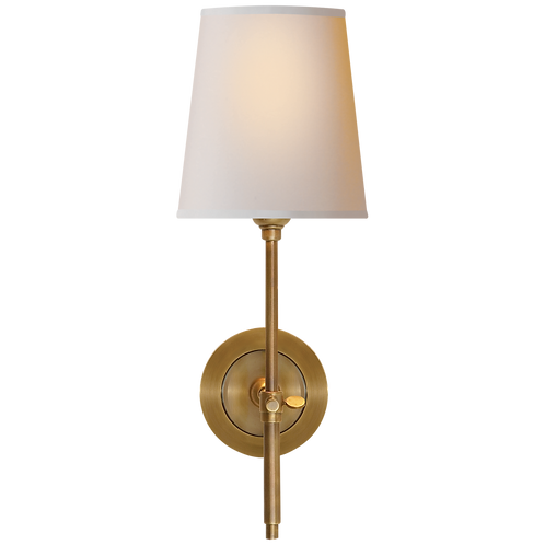 Bryant Sconce in Hand-Rubbed Antique Brass with Natural Paper Shade