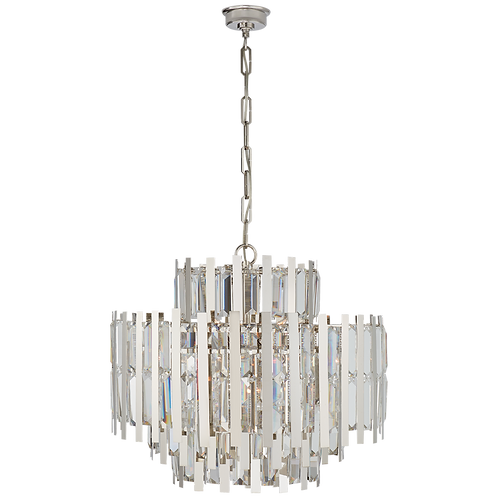 Ambrois Medium Chandelier in Polished Nickel with Crystal