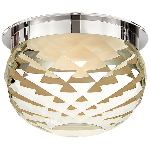 "Hillam 5.5"" Solitaire Flush Mount in Polished Nickel with Crystal"