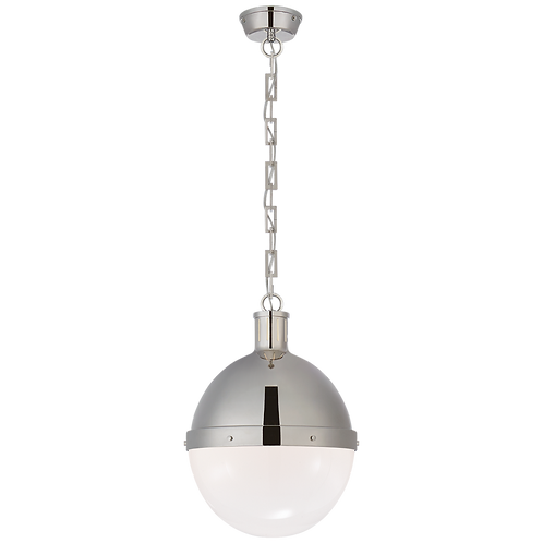 Hicks Large Pendant in Polished Nickel with White Glass