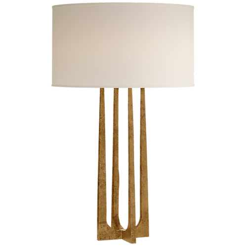 Scala Hand-Forged Table Lamp in Gilded Iron with Natural Percale Shade