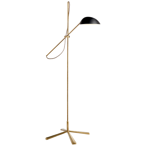 Graphic Floor Lamp in Hand-Rubbed Antique Brass with Black