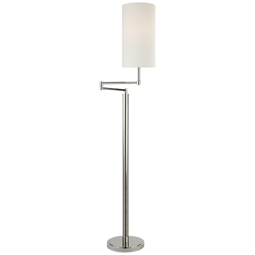 Anton Large Swing Arm Floor Lamp in Polished Nickel with Linen Shade