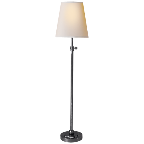 Bryant Table Lamp in Hand-Rubbed Antique Silver with Natural Paper Shade
