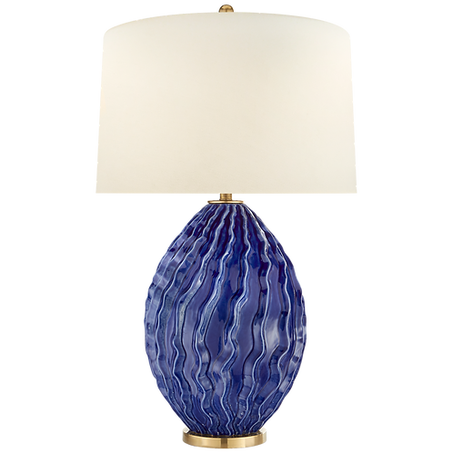 Dianthus Large Table Lamp in Flowing Blue with Natural Percale Shade