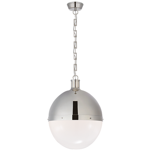 Hicks Extra Large Pendant in Polished Nickel with White Glass