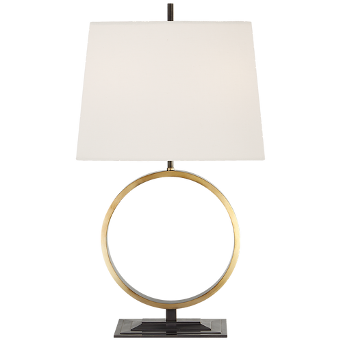 Simone Medium Table Lamp in Bronze and Hand-Rubbed Antique Brass with Linen
