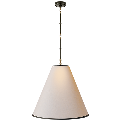 Goodman Large Hanging Lamp in Bronze and Hand-Rubbed Antique Brass with Natural