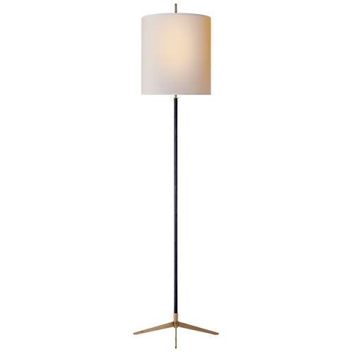 Caron Floor Lamp in Bronze with Hand- Rubbed Antique Brass accents with Natural