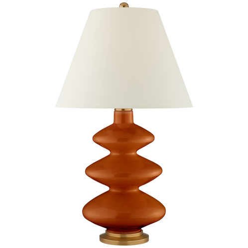 Smith Large Table Lamp in Cinnabar with Natural Percale Shade