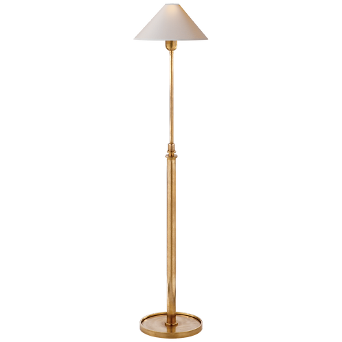 Hargett Floor Lamp in Hand-Rubbed Antique Brass with Natural Paper Shade