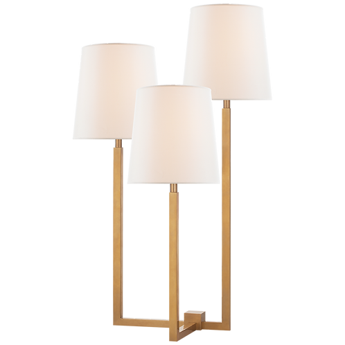 Margot Medium Triple Arm Table Lamp in Hand-Rubbed Antique Brass with Linen