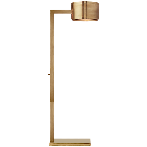 Larchmont Floor Lamp in Antique-Burnished Brass with Frosted Glass