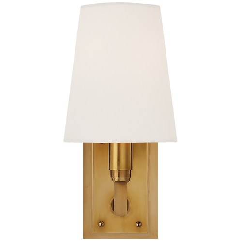 Watson Small Sconce in Hand-Rubbed Antique Brass with Linen Shade