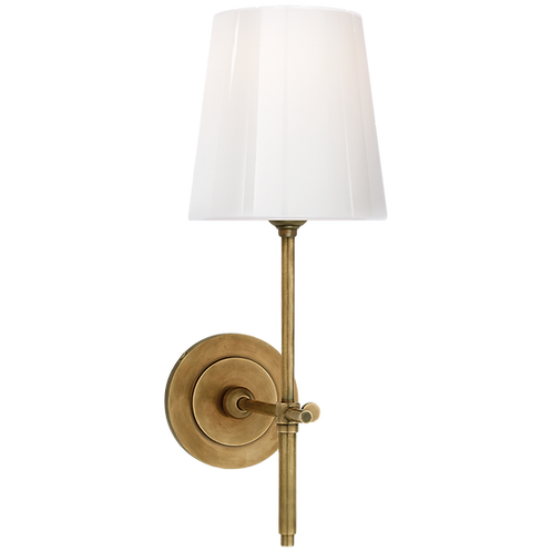 Bryant Sconce in Bronze with White Glass Shade