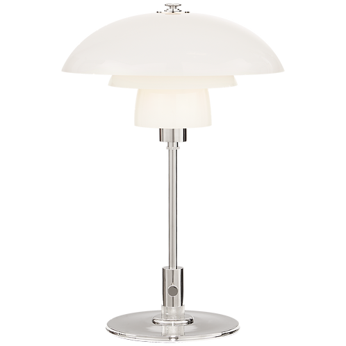 Whitman Desk Lamp in Polished Nickel with White Glass Shade