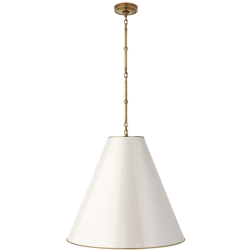 Goodman Large Hanging Lamp in Hand- Rubbed Antique Brass with Antique White
