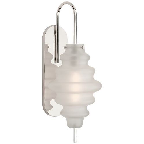 Tableau Large Sconce in Polished Nickel with Volcanic Glass
