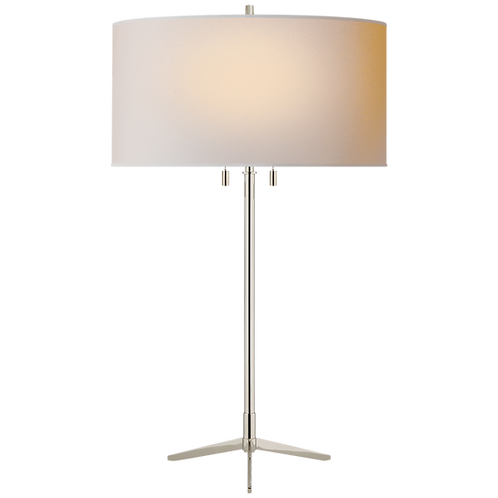Caron Table Lamp in Polished Nickel with Natural Paper Shade