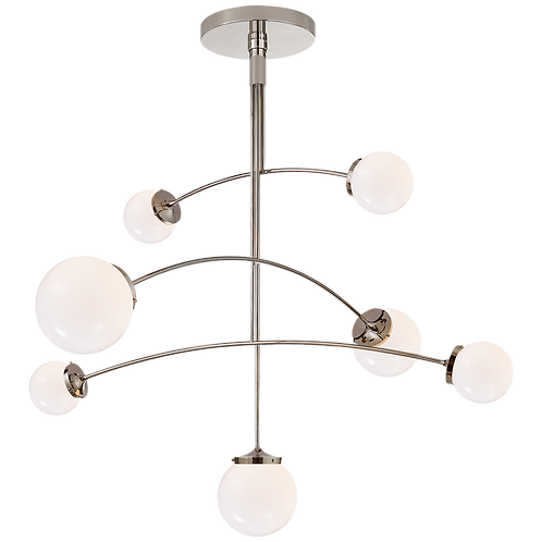 Prescott Large Mobile Chandelier in Polished Nickel with White Glass